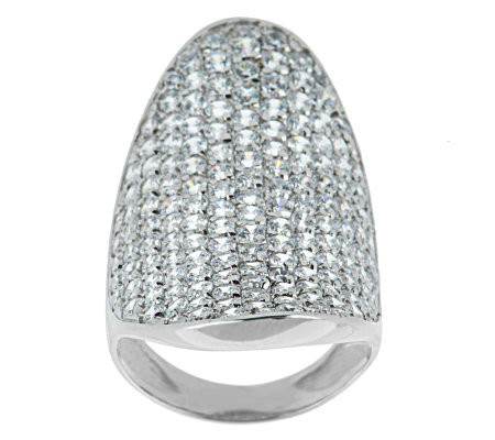 As Is Italian Sterling 4 45cttw Diamonique Saddle Ring