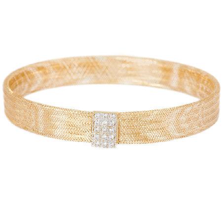 Vicenzagold Crystal Station Mesh Stretch Bracelet 14k Gold
