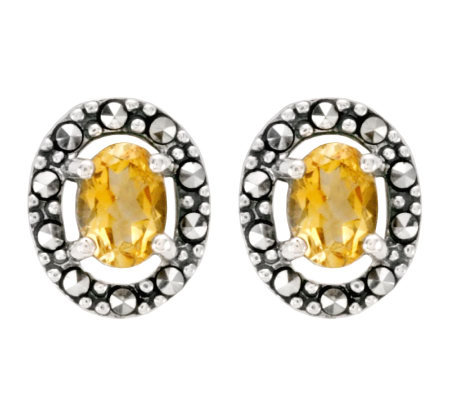 Suspicion Sterling Marcasite Oval Citrine Button Earrings