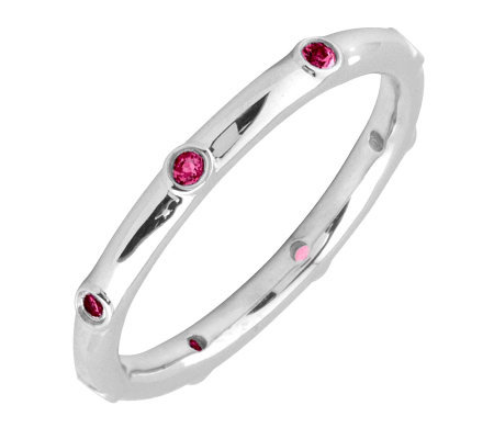Simply Stacks Sterling Ruby Multi-stone Stackable Ring