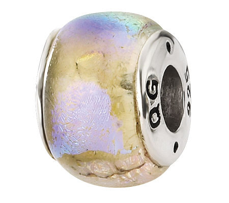 Prerogatives Sterling Pink Rainbow Dichroic Glass Bead