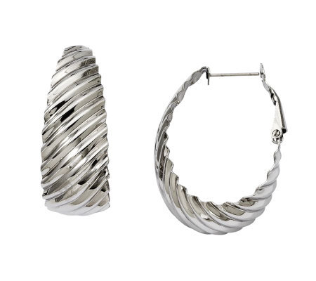 "Stainless Steel 1-1/4"" Textured Oval Hoop Earrings"