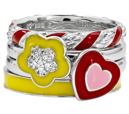 Simply Stacks Sterling Bright Flower Ring Set