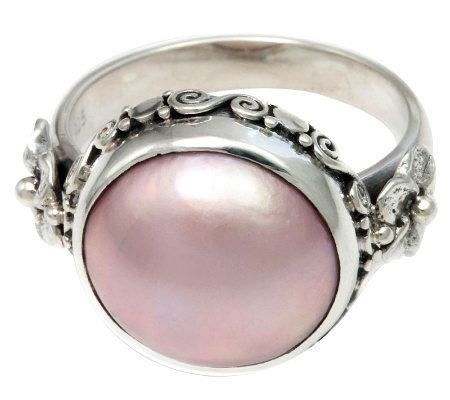 Novica Artisan Crafted Sterling Pink Cultured Mabe Pearl Ring