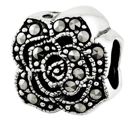 Prerogatives Sterling Marcasite Flower Bead