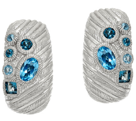 Judith Ripka Sterling Scattered Blue Topaz 1.80 cttw Earrings