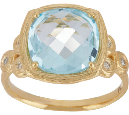 Adi Paz Cushion Shape Gemstone & Diamond Ring, 14K Gold