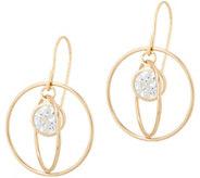 Diamonique Floating Stone Dangle Earrings, 14K Gold - J350006