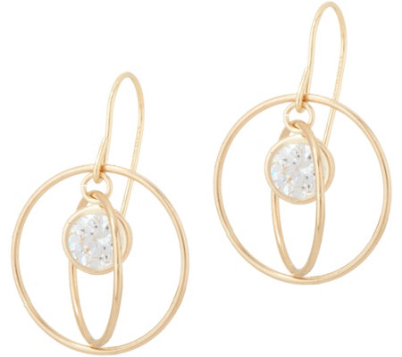 Diamonique Floating Stone Dangle Earrings, 14K Gold