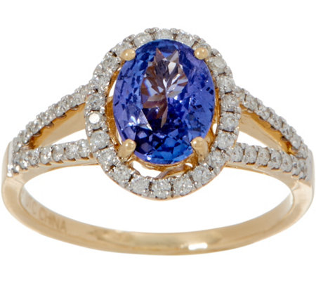 0.90 ct Tanzanite & 1/4 cttw Diamond Ring 14K Gold
