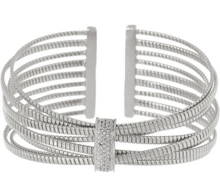 As Is Italian Silver Multi Row White Topaz Cuff Sterling 14 1g