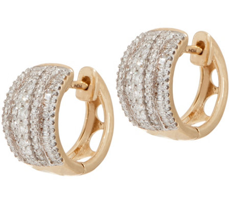 Diamond Huggie Hoop Earrings, 3/4 cttw, 14K, by Affinity