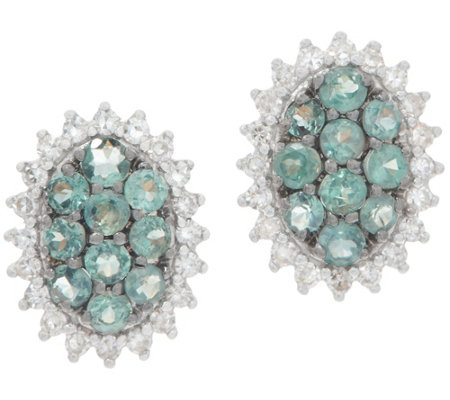 Alexandrite Cluster and Diamond Stud Earrings, 0.55 cttw, 14K