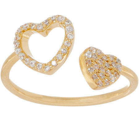 Diamonique Adjustable Motif Ring, 18K Gold Plated