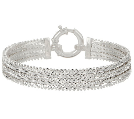 "Imperial Silver Textured Wheat 8"" Bracelet, 24.2g"