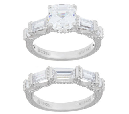 Diamonique Asscher and Baguette Ring Set, Sterling Silver