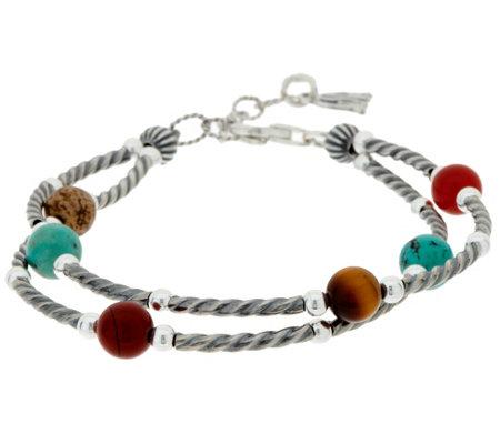 As Is American West Multi Gemstone Bead Sterling Bracelet