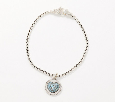 JAI Sterling Silver Gemstone Heart Charm Box Chain Bracelet