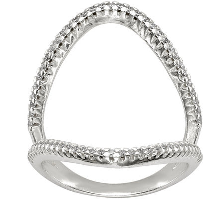 Sterling Crystal Openwork Ring