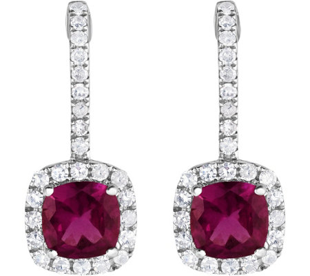 14K 1.50 cttw Grape Garnet & White Zircon Earrings