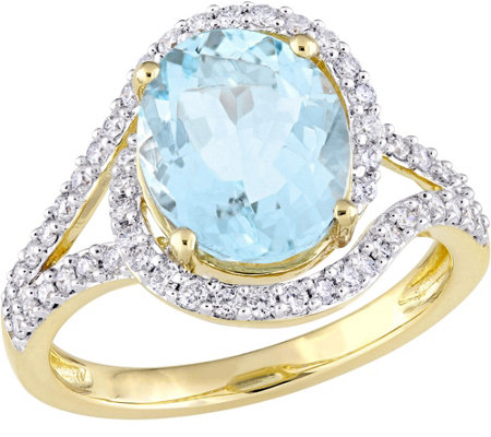14K Gold 2.75 ct Aquamarine and 1/2 cttw Diamond Swirl Ring