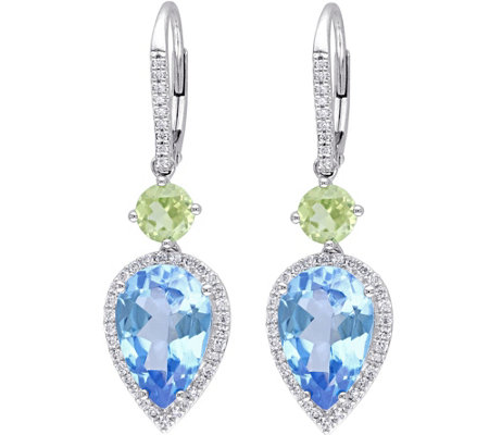 14K 8.40 cttw Gemstone & 1/3 cttw Diamond DropEarrings