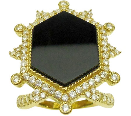 Judith Ripka 14K Clad Diamonique & Onyx Ring