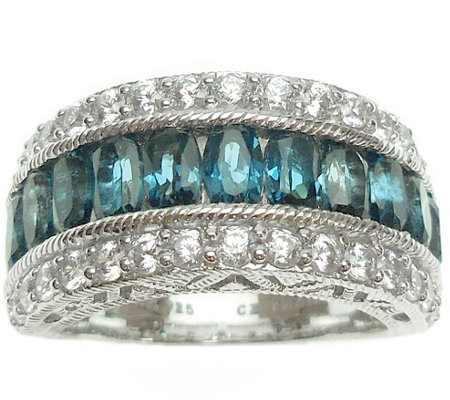 Judith Ripka Sterling Blue Topaz & Diamonique Band Ring