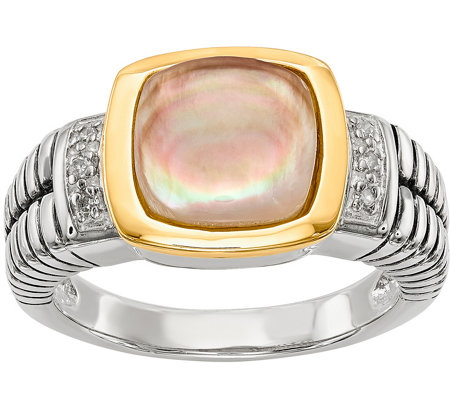 Sterling & 14K Mother-of-Pearl & Diamond Ring