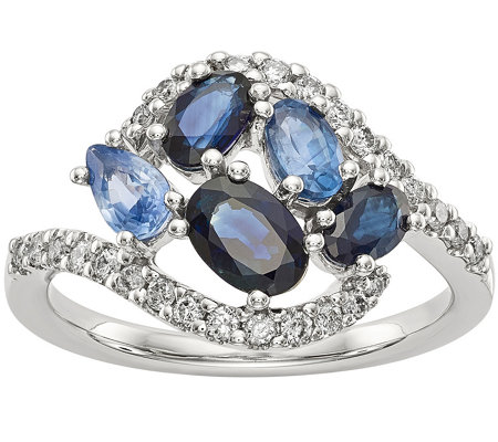 14K White Gold Diamond and Gemstone Ring