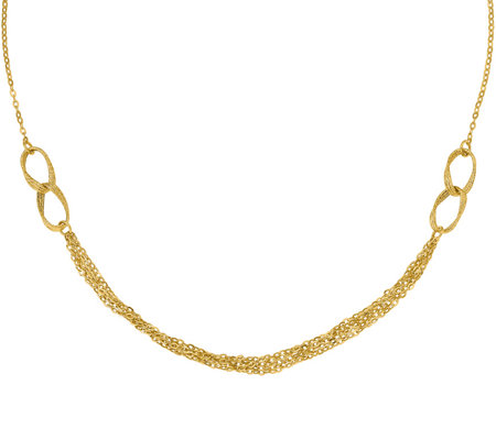 14K Multi-Chain Double Link Necklace, 2.4g