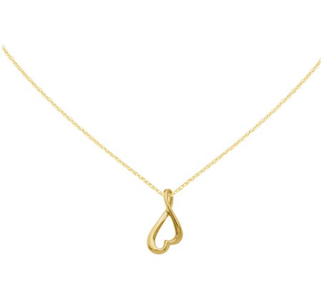 "14K Upside-down Heart Slide with 18"" Chain"