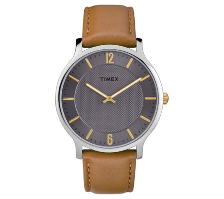 Timex Men's Metropolitan Brown Leather Strap Analog Watch