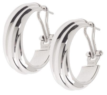 Bold Swirl Oval Hoop Earrings With Omega Back 18k White Gold
