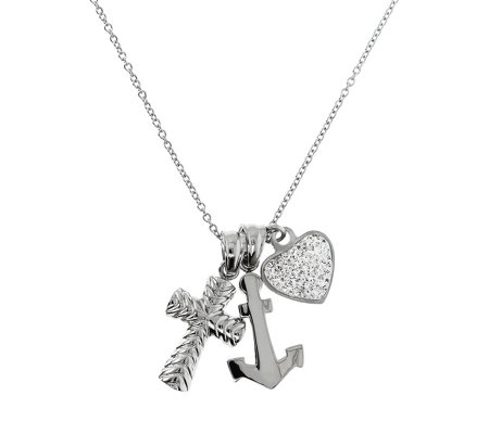 Sterling Silver Womens Girls Love Heart Anchor Cross Pendant Necklace