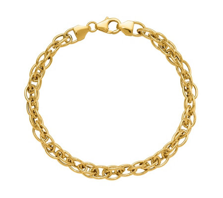 Italian Gold Polished Interlocking Link Bracelet, 14K 4.4g