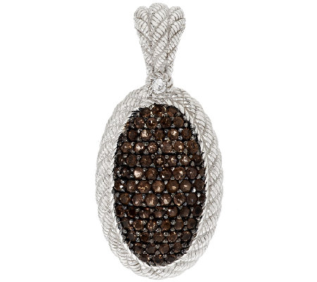 Judith Ripka Sterling Smoky Quartz Pave' Textured Enhancer