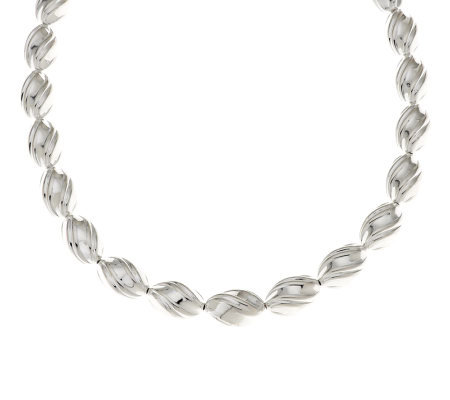 """As Is"" Argento Nuovo Sterling 20"" Fluted Bead Necklace"