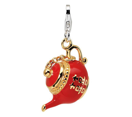 Amore La Vita Sterling Gold-Plated Red TeapotCharm
