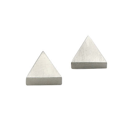 Stainless Steel Satin Triangle Stud Earrings