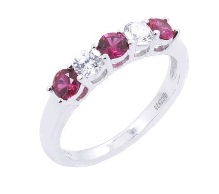 Diamonique & Simulated Ruby 5 Stone Ring, Platinum Clad