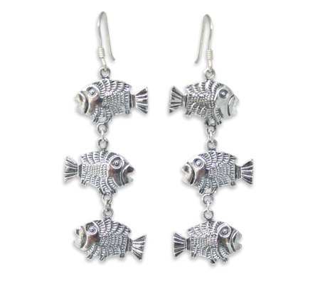 "Novica Artisan-Crafted Sterling ""Thai Fish"" Earrings"