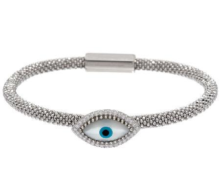Vicenza Silver Sterling Mother Of Pearl Evil Eye Bracelet