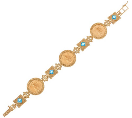 "14K/22K Gold 7-1/4"" Solid Liberty Coin Bracelet with Gemstones 23.6g"