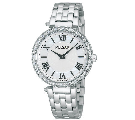 Pulsar Women's Stainless Steel Crystal-AccentedWatch