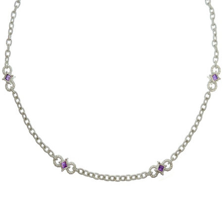 Judith Ripka Sterling Silver Amethyst & Diamonique Necklace