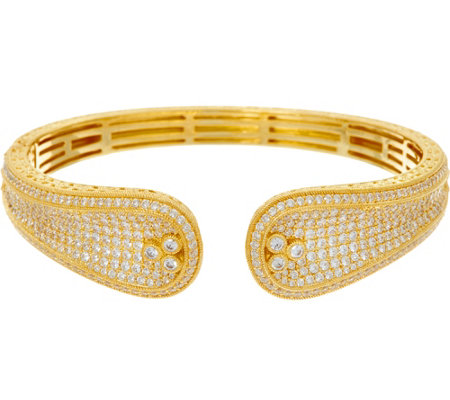 Judith Ripka Sterling Silver or 14K Clad Pave Diamonique Cuff Bracelet