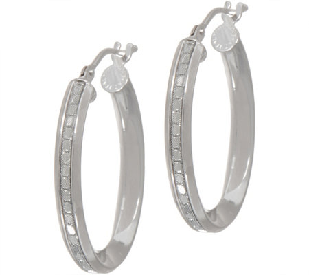 "Italian Gold 1"" Oval Glitter Hoop Earrings, 14K Gold"