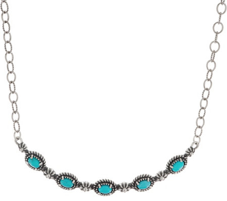 American West Sterling Silver Gemstone Tennis Necklace