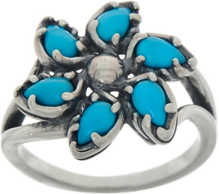 Carolyn Pollack Sleeping Beauty Turquoise Sterling Silver Pinwheel Ring